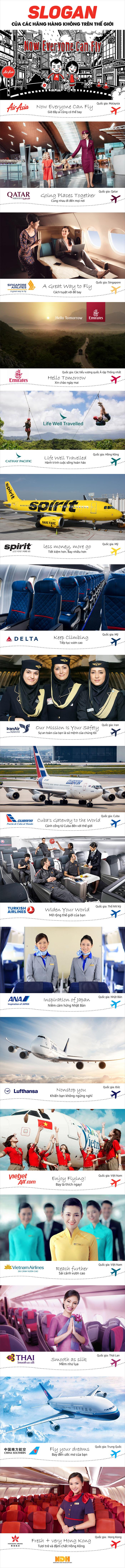 Các câu Slogan hay nhất của những hãng hàng không nổi tiếng